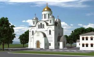 Die russisch-orthodoxe Kirche mit Gemeindezentrum und Kindertagesstätte, die auf dem Areal an der Knappertsbuschstraße 26 direkt gegenüber der gleichnamigen Grundschule gebaut wird. Visualisierung: Architekturbüro Bernd Fröhlich