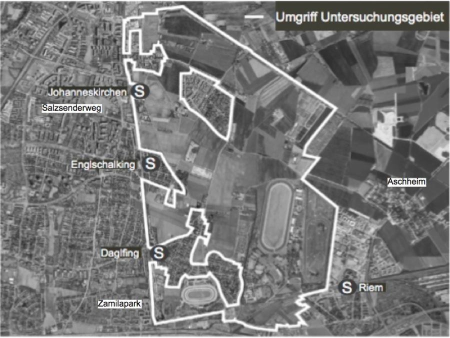 """Das größte Bauvorhaben Münchens, die """"Städtebaulichen Entwicklungsmaßnahme"""" (SEM) im Nordosten. Das neue Stadtviertel ist die (Wohn)-Zukunft der Stadt, frühestens ab 2030, wenn etwa 150 000 Menschen mehr in der Metropole leben werden.   Karte: Planungsreferat"""