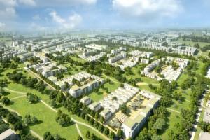 Modelansicht des künftigen Wohnquartiers Prinz-Eugen-Park: Auf dem knapp 30 Hektar großen ehemaligen Kasernengelände werden 1800 Wohnungen für 3500 bis 4000 Menschen gebaut.      Illustration: GSP Architekten