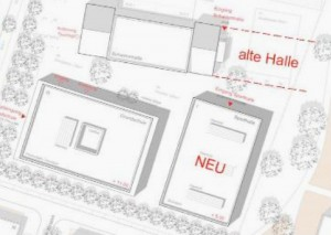 Mit dieser Karte argumentieren die Verantwortlichen des SC Prinz Eugen: Erst die neue Sporthalle neben der Ruth-Drexel-Grundschule im künftigen Prinz-Eugen-Park bauen und nach Fertigstellung könne die alte Turnhalle abgerissen werden. Somit könnte man den Sportbetrieb aufrecht erhalten.
