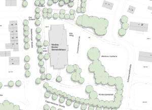An der Ecke Weltenburger-/Eggenfeldener Straße soll das Mormonen-Gemeindehaus entstehen.       Karte: Architekt/Stadt München
