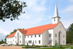 """Das länglich geplante Gemeindezentrum der Kirche """"Jesu Christi der Heiligen der Letzten Tage"""" im Bogenhauser Stadtteil Steinhausen.    Foto: Kirche Jesus Christi HTL"""