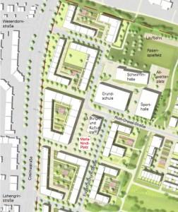 """Der Maria-Nindl-Platz an der Eugen-Jochum-Straße liegt zwar am Rand des entstehenden Wohnviertels Prinz-Eugen-Park unweit der Cosimastraße. Er bildet aber dennoch das """"Herz"""" des Quartiers.   Karte: Stadt München"""
