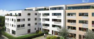 Innenansicht des Gebäudekomplexes mit insgesamt 131 Wohnungen und einer Kindertagesstätte. Foto: Concept Bau