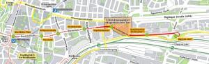 Der Streckenverlauf der Tram Steinhausen ab Max-Weber-Platz bis Berg am Laim.   Karte: MVG