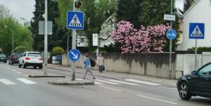 Rennen über den Zebrastreifen: Damit der Übergang an der Friedrich-Eckart-/Nettelbeckstraße sicherer wird, fordern Eltern eine Ampel mit Druckknopfbetätigung.