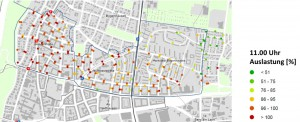 Die Auslastung um 11 Uhr der drei untersuchten Bereiche belegt, dass die Gebiete Holbein- und Mühlbaurstraße flächendeckend zugeparkt sind, während in der Parkstadt Bogenhausen die Fahrzeugmassierung nicht so dicht ist.          Karten: Planungsreferat Stadt München