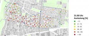 Die Auslastung um 21 Uhr der drei untersuchten Bereiche belegt, dass es im Gebiet Holbeinstraße noch einige freie Stellplätze gibt, während im Gebiet Mühlbaurstraße die öffentlichen Parkplätze zu 99 Prozent und in der Parkstadt Bogenhausen zu 91 Prozent belegt sind.