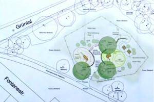 """Die """"Grobplanung des Baureferats/Gartenbau für einen Spielplatz an der Ecke Fontanestraße und Grüntal.   Karte: Baureferat"""