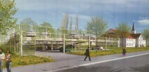 Das geplante Palettenparkhaus angrenzend ans Mormonen-Gemeindezentrum.