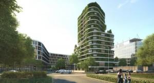 52 Meter hoch, 16 Etagen mit Wohn- und Büroraum: So soll das grüne Hochhaus an der Arabellastraße 26 zwischen dem Verwaltungstrakt Arabeska (li.) und den Nebengebäuden der HypoVereinsbank (re.) aussehen.         Simulation Aika Schluchtmann Architekten