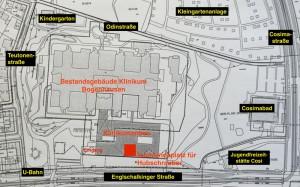 Lageplan des Klinikums Bogenhausen mit dem geplanten Erweiterungsbau samt Hubschrauberlandeplatz auf dem Dach.  Karte: Planungsreferat/hgb
