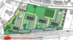 Der Bebauungsplan für das Wohngebiet an der Ecke Barlow-/Brodersenstraße in Englschalking parallel zur Flughafen-S-Bahnlinie.      Karte: HGROUP/Stadt München
