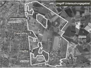Das knapp 600 Hektar große Entwicklungsgebiet im Münchner Nordosten.  Karte: Stadt München