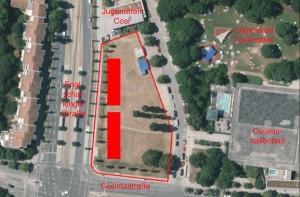"""Auf der Cosimawiese, dem Areal an der Ecke Englschalkinger-/Cosimastraße (rot umrandet) plant das Sozialreferat eine Gemeinschaftsunterkunft für Flüchtlinge, zwei Containerblocks (rote Recht-ecke). """"mit maximal 160 Bettplätzen"""" einzurichten.    Luftbild: Stadt München/Bearbeitung: Blessing"""