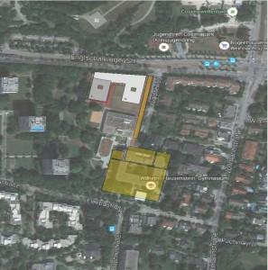 WHG-Neubau (weißgraue Flächen) auf dem bestehenden Sportplatz entlang der Englschalkinger Straße (Gebäudelage ist ein Vorschlag).