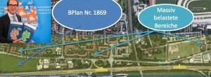 """Bundesverkehrsminister Alexander Dobrindt stellte vor kurzem den """"Bundesverkehrswegeplan 2030"""" vor, die Nachbarschaftsinitiative Zamdorf fordert, den Lärmschutz sofort zu realisieren. Foto: BMVI / Karte: Nachbarschaftsinitiative Zamdorf/Mentner/Google Maps"""