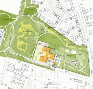So könnte der Neubau des Wilhelm-Hausenstein-Gymnasiums (die Gebäudelage ist ein Vorschlag) im Klimapark am Salzsenderweg angelegt werden.    Visualisierung: Büro Krug Grossmann mit Burkhard/Englmayer