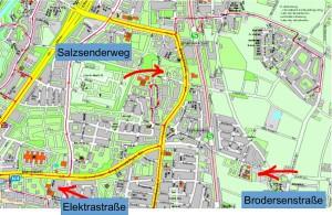 Die drei möglichen Standorte für einen Neubau des Wilhelm-Hausensteins-Gymnasiums. Visualisierungen/Pläne: Büro Krug Grossmann Architekten, Ges. von Architekten und Ingenieure
