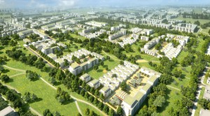 Modelansicht des künftigen Wohnquartiers Prinz-Eugen-Park an der Cosimastraße: Auf dem knapp 30 Hektar großen ehemaligen Kasernengelände sollen rund 1800 Wohnungen für etwa 3500 Menschen gebaut werden.     Illustration: GSP Architekten