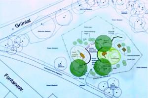 Der Entwurf des Baureferats für einen Spielplatz an der Ecke Grüntal/Fontanestraße, der nach Ablehnung des Projekts durch die Bogenhauser Lokalpolitiker Papiermüll ist.   Plan: Stadt München