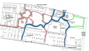 So sieht das Wegenetz im Denninger Anger West jetzt aus: Die blau markierten Strecken sind asphaltiert, rot sind die gewalzten Kieswege, die grünen Abschnitte waren im städtischen Plan nicht enthalten, wurden eingefügt.     Karte: Stadt München/Bearbeitungen und Ergänzungen: hgb