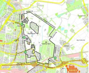 """Das größte Bauvorhaben Münchens, die """"Städtebaulichen Entwicklungsmaßnahme"""" (SEM) im Nordosten – eingerahmt von der Trasse der S8 zwischen Daglfing und Johanneskirchen, von den Grenzen zu den Gemeinden Unterföhring und Aschheim sowie dem Lebermoosweg (ehemalige Gütergleis-Trasse) und der Riemer Straße. Es ist die (Wohn)-Zukunft der Stadt frühestens ab 2030, wenn etwa 150 000 Menschen mehr in der Metropole leben werden.   Karte: Planungsreferat"""