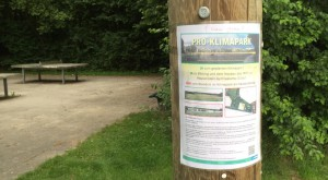 Werbung um Unterstützung für die Realsierung des Klimaparks ohne Gymnasium im Fideliopark. Mehr als 1200 Personen haben sich bereits angeschlossen.    Foto: hgb