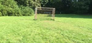Bild im September: Die Strafräume auf dem Bolzplatz am Denninger Anger sind vom Gartenbauamt hergerichtet, Gras ist angewachsen.     Foto: hgb