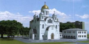 Die russisch-orthodoxe Kirche, die auf dem Areal an der Knappertsbuschstraße 26 direkt gegenüber der gleichnamigen Grundschule gebaut werden soll.     Visualisierung: Architekturbüro Bernd Fröhlich