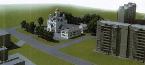 Die Kuppel des mittigen Turms der geplanten russisch-orthodoxen Kirche mit Gemeindezentrum und Kindertagesstätte an der Knappertsbuschstraße ist in etwa so hoch wie die angrenzenden Hochhäuser.    Visualisierung: Architekturbüro Bernd Fröhlich