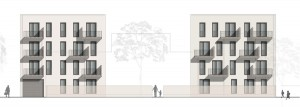Die Ansicht Süd der Anlage der Baugemeinschaft Prinz-Eugen-Park (Punkt 7) mit 15 Etagen- und 16 Atriumwohnungen. Für das Projekt fand vor kurzem eine symbolische Grundsteinlegung statt. Visualisierung: Plan-Z Architekten/H2R-Architekten