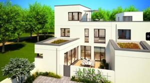 16 Atriumhäuser sowie 16 Stadtwohnungen werden bis Ende 2018 an der Ruth-Drexel-Straße (Punkt 5) bezugsfertig.   Visualisierung: Klaus Wohnungsbau