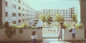 Im Bezirksausschuss präsentierter Gewofag-Plan mit Blick in den Innenhof, der den Lokalpolitikern nicht gefällt.   Foto: hgb