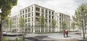 Visualisierung des Siegerentwurfs für einen Wohnkomplex der GewofaG im Prinz-Eugen-Park.    Quelle: Fink + Jocher Architekten