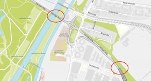 """Die neuralgischen Punkte auf dem Föhringer Ring: Die marode Heinrich-Herzog-Brücke (oberer Kreis), die nur mit Tempo 50 befahren werden darf, und die Verengung auf eine Spur am """"langen"""" Ende der Effnerstraße (unterer Kreis). Die Folge sind oft kilometerlange Rückstaus. Karte: Stadt München/OpenStreetMap"""