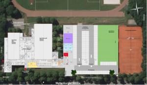 Die Bestandsgebäude mit kleiner und großer Sportgalle (links) der TS Jahn an der Weltenburger Straße und rechts mit der geplanten Dreifachturnhalle.     Plan: Stark Architekten und Partner