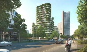 Das grüne Pilotprojekt aus dem Blickwinkel vor dem Gebäude des Burda-Verlags.