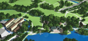 """Eine Computeranimation zeigt, wie die beiden Parkhälften des Englischen Gartens über dem Tunnel – in Anlehnung an historische Pläne – zusammenwachsen könnten.    Visualisierung: Bürgerinitiative """"Ein Englischer Garten"""""""