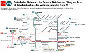 Das seit Mitte Dezember mit der Inbetriebnahme der Tram 25 Steinhausen geänderte MVG-Linien-netz stößt auf heftigen Widerstand fast aller Fahrgäste.   Karte: MVG