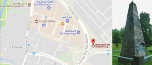 Die Basispyramide liegt versteckt am Rand des Heinzkraftwerks Nord.     Karte: Google / Foto: NordOstKultur-Verein