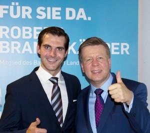 Wurden mit überwältigen Mehrheiten von der CSU im Münchner Nordosten als Kandidaten nominiert: Peter Reinhardt für den Bezirkstag und der amtierende Abgeordnete Robert Brannekämper für den Landtag .    Foto: CSU