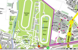 Etwa 100 Hektar groß ist das Galopperzentrum, die Olympia-Reitanlagen (unterhalb) umfasst rund 27 Hektar. Zum Pferdesport-Komplex gehört noch oberhalb der Galopperanlagen die Trabrennbahn Daglfing (nicht im Bild).    Karte: Stadt München