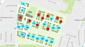 25 Baufelder umfasst das künftige Wohnquartier Prinz-Eugen-Park an der Cosimastraße. Sieben Baufelder (rot) sollen mit 1,5 Meter hohen Mauern eingefriedet werden. Bauherren und künftige Bewohner fordern stattdessen Hecken.    Karte: Konsortium Prinz-Eugen-Park/Bearbeitung: hgb