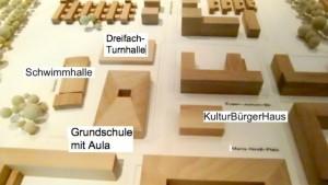 Die dreizügige Ruth-Drexel-Grundschule mit Aula, Dreifachturn- und benachbarter Schwimmhalle sowie das nunmehr zu einem Treffpunkt geschrumpfte KulturBürgerHaus bilden das Zentrum des künftigen Wohnquartiers Prinz-Eugen-Park an der Cosimastraße.    Visualisierung/Montage: Stadt München/hgb