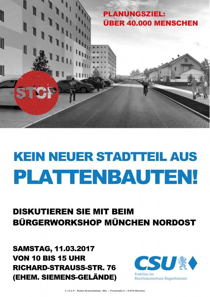 Auslöser einer Posse: Das CSU-Plakat, mit dem die Bogenhauser auf den Bürgerworkshop zur Städtebaulichen Entwicklung im Nordosten aufmerksam gemacht und eingeladen worden waren.
