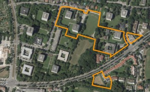 Auf den gelb umrandeten Grundstücken an der Englschalkinger Straße will der Eigentümer gemäß einer städtebaulichen Studie bauen, lies nachverdichten. Der Bezirksausschuss fordert ein Bebauungsplanverfahren.    Karte: Studie bgsm