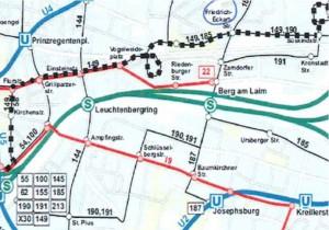 Die neue Buslinie 149 (schwarze Quadrate) würde Zamdorf und Umgebung wieder direkt an die Innenstadt anbinden. Ob die Linie realisiert wird, ist offen. Denn die MVG ist nicht bereit, doe Kosten zu übernehmen, die Stadt müsste einspringen.     Karte: Nachbarschaftsinitiative Zamdorf