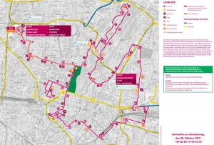 Der Streckenverlauf für den München Marathon 2017 mit Halbmarathon, Zehn-Kilometer-Lauf und der Marathonstaffel mit mehr als 20 000 Teilnehmern.      Karte: München Marathon