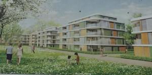 Schicke Wohnungen, viel Grün – so wird das künftige Wohnquartier Barlowstraße auf der Bautafel dargestellt. Von einem Betonwall zur S-Bahn ist nichts zu sehen.    Foto: hgb